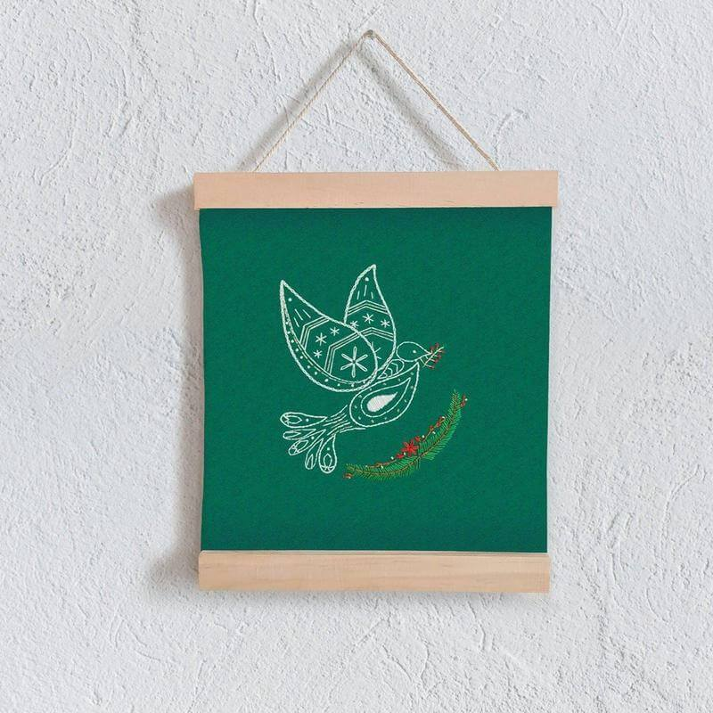 Paraffle Embroidery Banner Embroidery kit Christmas Dove Banner Kit