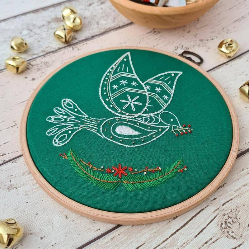 Paraffle Embroidery Pattern Christmas Dove Embroidery Pattern