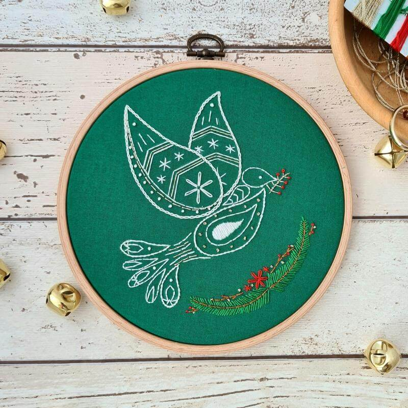 Christmas Dove Embroidery Pattern