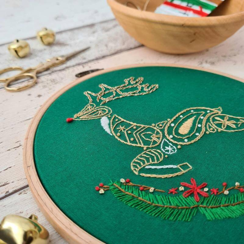 Paraffle Embroidery Pattern Christmas Reindeer Embroidery Pattern