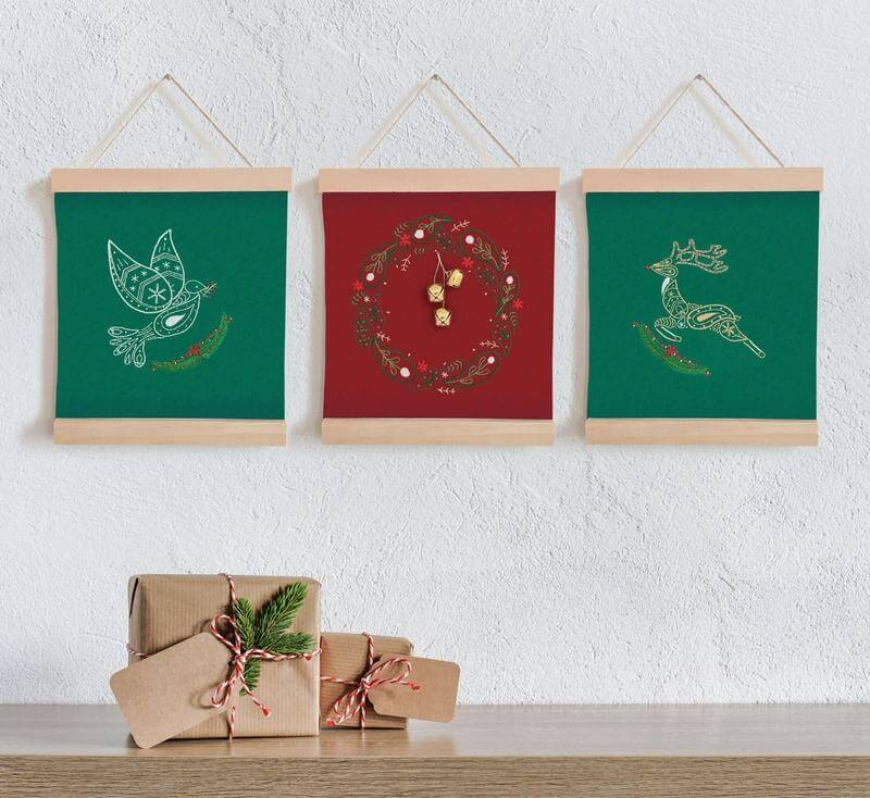 Paraffle Embroidery Banner Embroidery kit Christmas Wreath Banner Kit