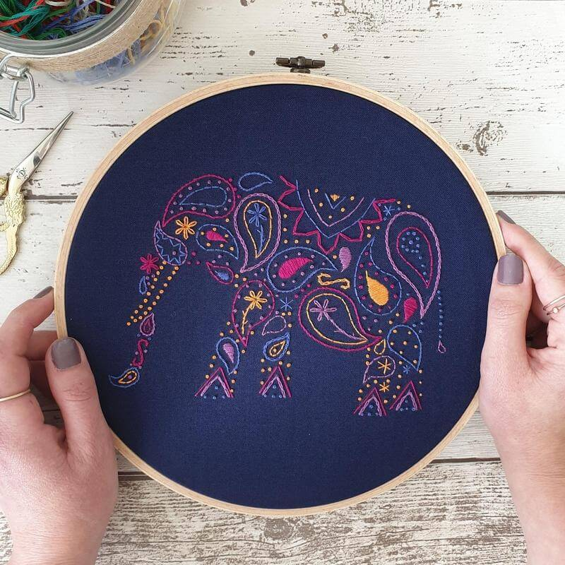 Paraffle Embroidery Banner Embroidery kit Elephant Banner Embroidery Kit