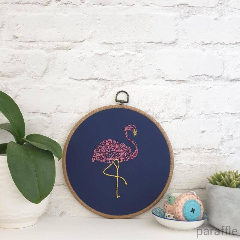Paraffle Embroidery Pattern Flamingo Embroidery Pattern