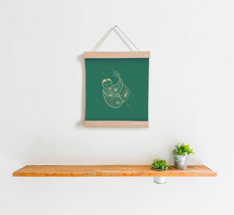 Charity Kits Banner Embroidery kit Green Sloth Banner Embroidery Kit