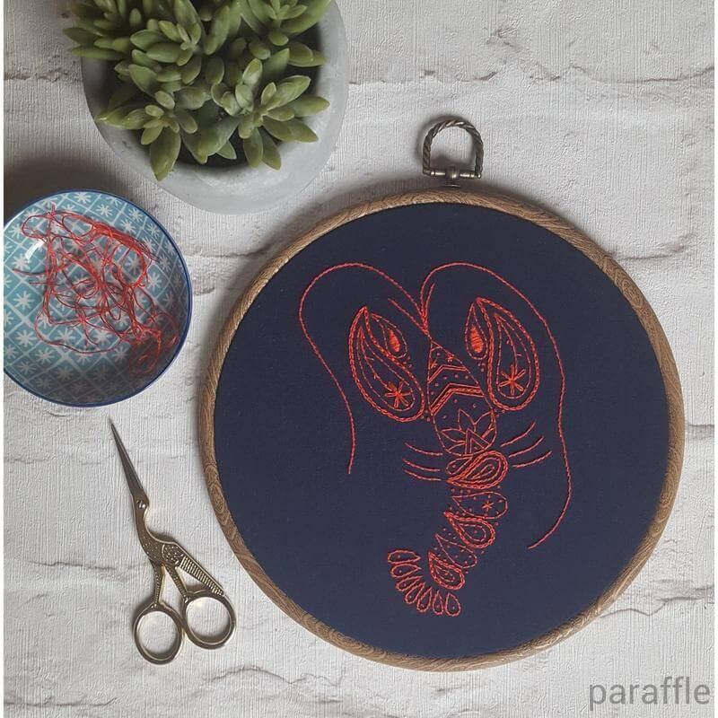 Paraffle Embroidery Pattern Lobster Embroidery Pattern