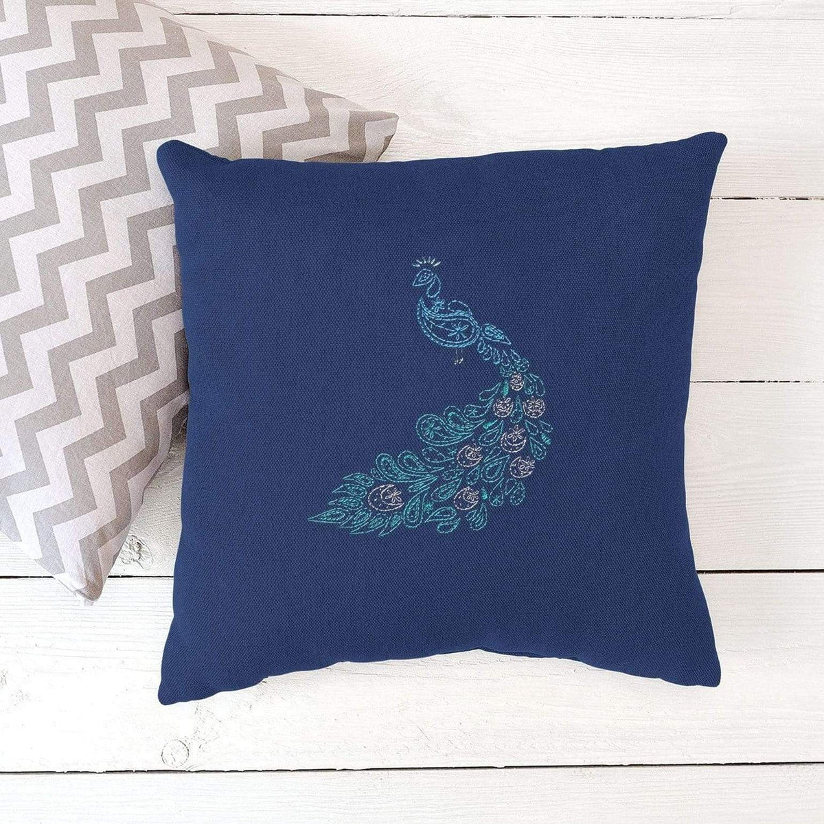 Paraffle Embroidery Cushion Embroidery Kit Peacock Cushion Kit & Pattern