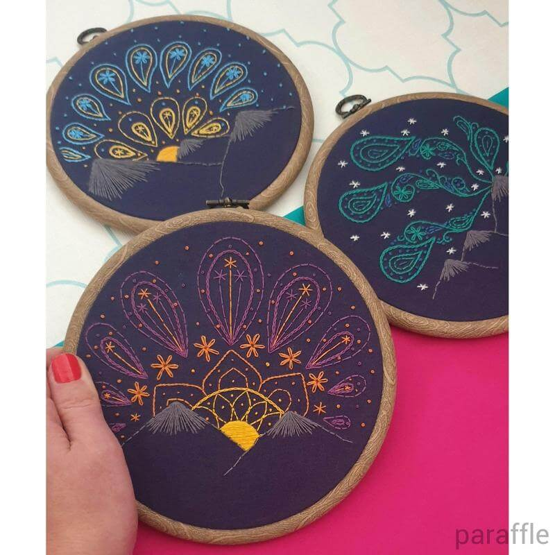 Paraffle Embroidery Pattern Set of 3 - Paisley Skies Embroidery Patterns