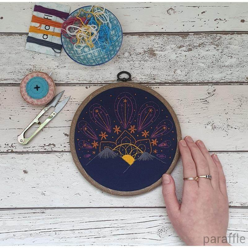 Paraffle Embroidery Pattern Sunset Embroidery Pattern