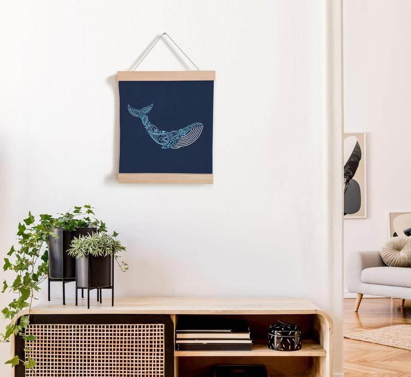 Paraffle Embroidery Banner Embroidery kit Whale Banner Embroidery Kit