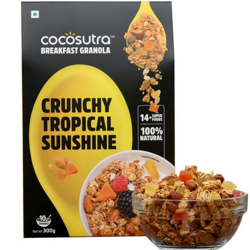 COCOSUTRA Granola - Crunchy Tropical Sunshine, Breakfast Cereal - Oats, Nuts, Seeds and Dry Fruits (300gm)