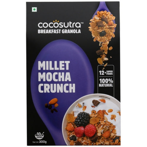 COCOSUTRA Granola - Millet Mocha Crunch, Breakfast Cereal with Oats, Nuts, Seeds and Dry Fruits (300gm)