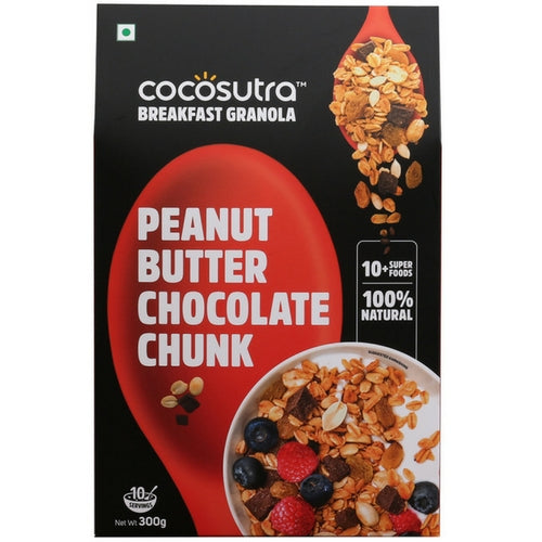 COCOSUTRA Granola - Peanut Butter Chocolate Chunk, Breakfast Cereal with Oats, Nuts, Seeds and Dry Fruits (300gm)