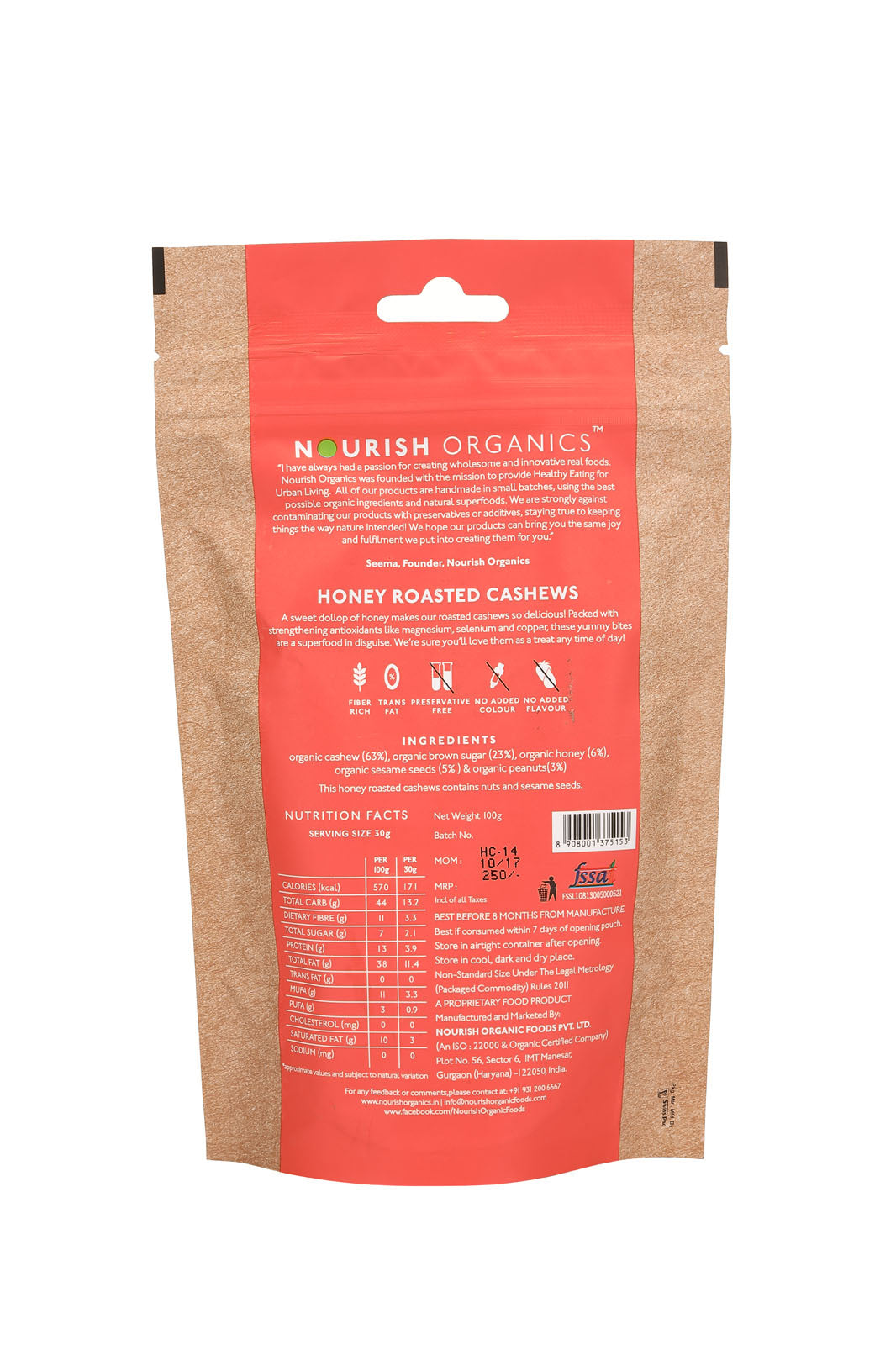 Nourish Organics - Honey Roasted Cashews 100g