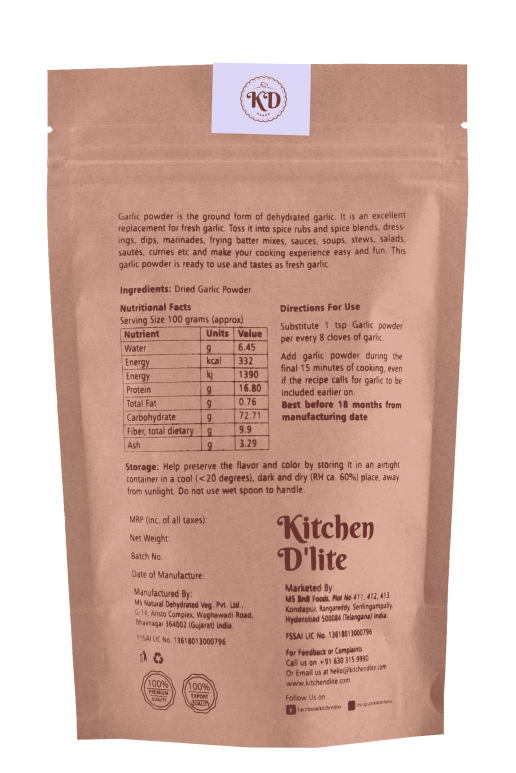 Kitchen D'lite - Garlic Powder Dry 150g