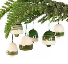 Maya Organic - Xmas Decoration Bells Green (Set of 6)