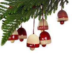 Maya Organic - Xmas Decoration Bells Red (Set of 6)