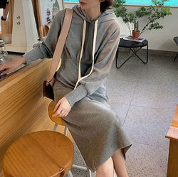 Casual hooded sweatshirt dress