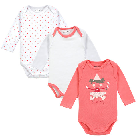 Baby cotton bodysuit with long sleeves