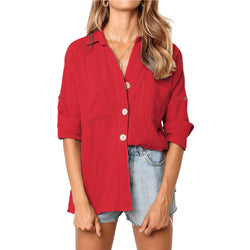 Roll up sleeve V-neck blouse