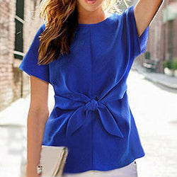 Short sleeve blouse with knot