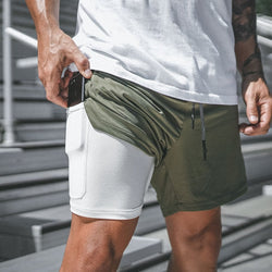 Gym shorts with phone pocket