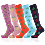 Fruits printed compression socks 2 pairs