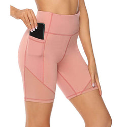 High waist slimming yoga shorts with pocket