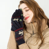 Knitted touch screen christmas gloves