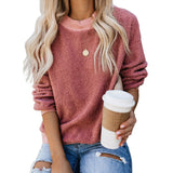 Round neck long sleeve pullover for women