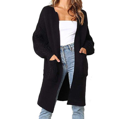 Lantern sleeve long cardigan for women