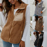 Sleeveless plush jackets vest