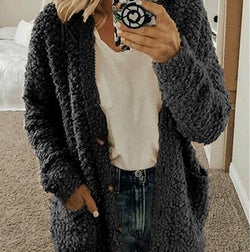 Warm fluffy cardigan for women