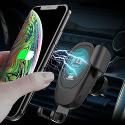 Qi wireless car fast charging holder with wireless charging receiver (optional)