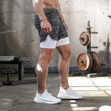 Multi-pockets double-layer fitness shorts for men