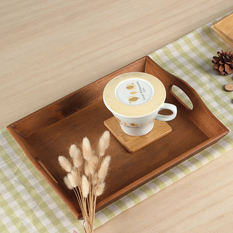 Rectangular retro wooden tray with handles