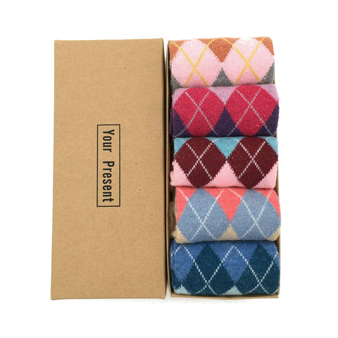 5 pairs colorful printed socks