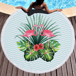 Tropical flamingo beach throw