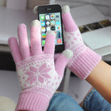 Knit snowflake touch screen gloves