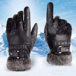 PU leather winter warm gloves