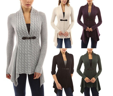 Cable knit design cardigan