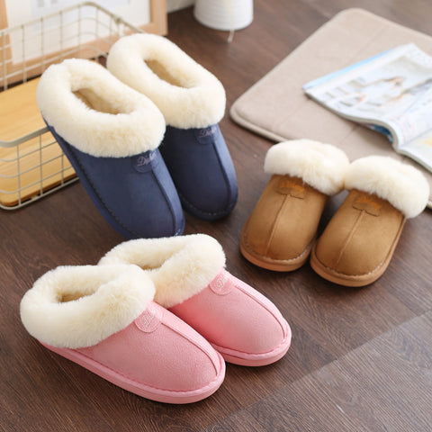Warm plush unisex slippers