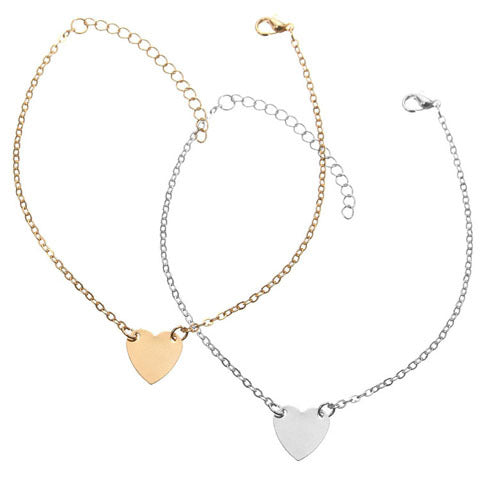 Ankle bracelet set with heart