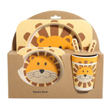 Cute animals bamboo bowl set for children