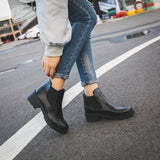 PU leather ankle boots for women