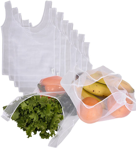 Reusable recycled mesh grocery bags