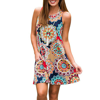 Sleeveless colorful mini dress