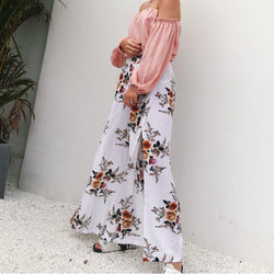 Floral high-waisted wide pants
