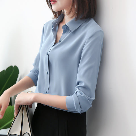 Classic chiffon long sleeve blouse