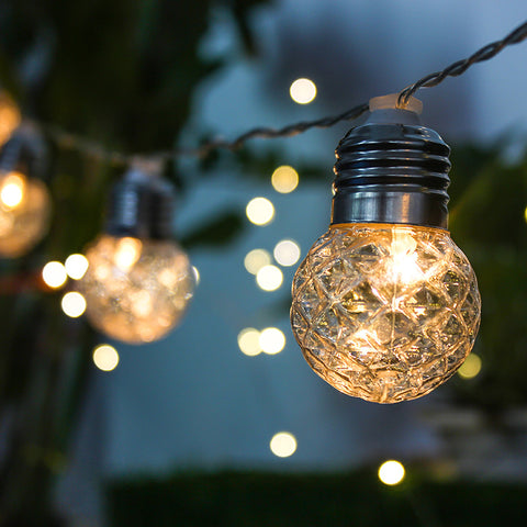 Solar round crystal bulb string lights