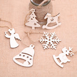 Set of 12 wooden Christmas tree ornaments